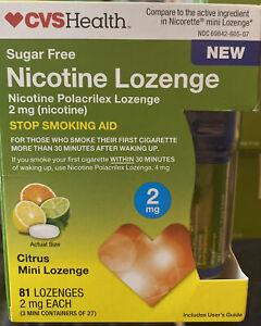 CVS Health Nicotine Lozenge 2 mg 81 LOZENGES stop smoking Citrus FACTORY SEAL