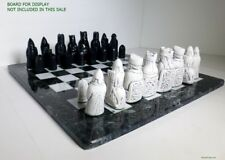 "ISLE OF LEWIS CHESS MEN - HAND CAST COLLECTORS' SET -  K= 3.5"" (black/white) 845"