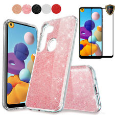 For Samsung Galaxy A21 Case Glitter Bling Hybrid TPU Cover+Full Screen Protector