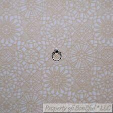 BonEful FABRIC FQ Cotton Quilt VTG White Brown Antique Lace Flower Damask Print