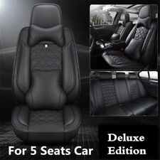 6D Surround Breathable Car Seat Cover Black PU Leather For Interior Accessories