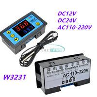 DC 12V/24V W3231 Digital Dual LED Thermostat Temperature Controller NTC 110-220V