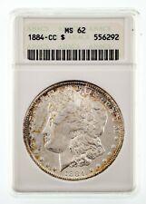 1884-CC $1 Silver Morgan Dollar Graded by ANACS as MS62