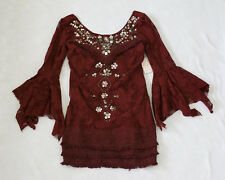 NWT Free People Women's Shell Game Shift Lace Beaded Dress Cranberry Size 4