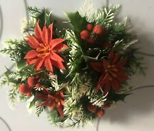 Vtg Plastic Holiday Christmas Candle Ring Centerpiece Berries Poinsettias Holly
