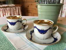 ~Moritz Zdekauer-Made in Czech Rep~Set of 2 CUPS & Saucers~Royal Blue/22ct Gold~