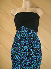 BNWT rrp £38 Jane Noman Black Blue Sparkly Glittery Animal Print Mini Dress - 10