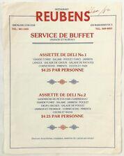 1982 Vintage Catering Service Menu Restaurant Reubens Deli Montreal Quebec Ca