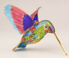 Rare Cloisonne Enamel Pendant Statue Hummingbird Old Hand-Carved Decoration