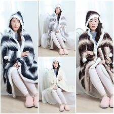 LUXURY SUPER SOFT SHERPA FAUX FUR HOODED SNUGGLE BLANKET THROW - 4 COLOURS