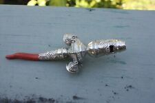 antique 19c. Sterling Silver  babies  rattle with long coral teether  1863/4