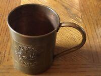 """Vintage Paykoc Barware Solid Copper Moscow Mule Mug Cup 3 1/2"""" X 4"""" Turkey"""