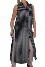 Sleeveless Striped Cotton Tops & Shirts Plus Size for Women