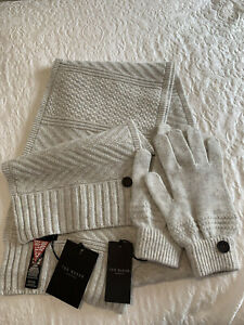 Mens Ted Baker Matching Grey Scarf And Gloves Set One Size BRAND NEW