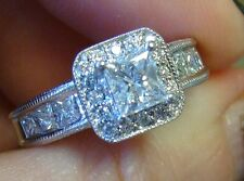 1.70 ct PRINCESS Halo Diamond Engagement Ring 14K WG NEW
