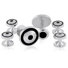 Tuxedo Stud Silver Black Wedding Marriage Cufflinks + Free Box & Cleaner