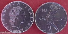 C49  ITALY ITALIA  50 LIRE VULCANO 3° tipo 1992 con  ROMBO KM 95.2 FDC UNC