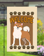 Shiba Inu Welcome Dog Garden Banner Flag 11x14 to 12x18 Pet Breed Yard Decor