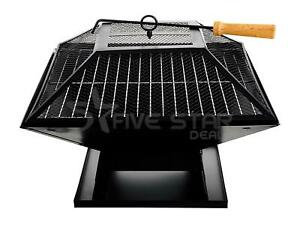 SQUARE FIRE PIT BBQ GRILL OUTDOOR CHARCOAL STAND PATIO HEATER BRAZIER STOVE