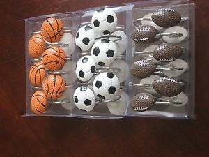 HAND CARAFTED Shower Curtain Hook  Basketball Football Soccer