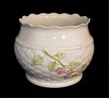 Belleek Basket Weave Floral Porcelain Planter