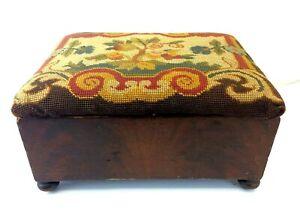 Used Wood Needlepoint Country Style Fabric Floral Ottoman Footstool Stool Veneer
