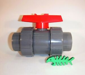 """43 mm Union Ball Valve fits 1.5"""" = 43 mm OD pond/waste pipe, NOT PRESSURE pipe"""