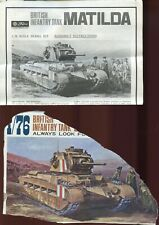 1:76 SCALE INJECTION MOLDED BRITISH INFANTRY TANK MATILDA by FUJIMI