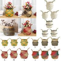 Garden Flower Pot Planter Seagrass Belly Basket Straw Wicker Storage Home Decor