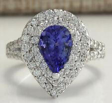 3.50 Carat Natural Tanzanite 14K Solid White Gold Luxury Diamond Ring