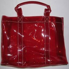 "Clinique Clear & Red PVC Tote/Bag. 9-1/2""(H) x 12-1/4""(L) x 5""(D). Strap Drop 5"""