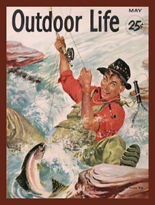Vintage Outdoor Life Magazine Cover Reproduction Metal Sign FREE SHIPPING Trout
