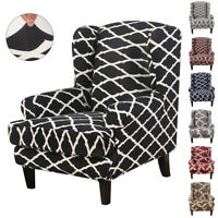 Stretch Wingback Armchair Chair Printed Polyester Cover Protector Wing Chair NEW