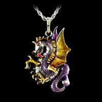 Handmade Crystal Dragon Necklace Pendant Jewelry Retro Fire Sweater Chain Gift