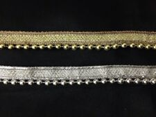Silver Gold 20mm Vintage Style Pearl Beaded Lace Edging Trim Ribbon Wedding 1Yrd