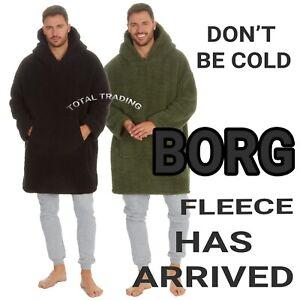 mENS Hoodie bORG Oversized feece Big Hooded Sweatshirt  tV LOUNGEWEAR PYJAMA TOP
