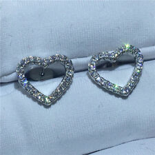 0.60Ct Round VVS1/D Diamond Heart Stud Earrings Solid 14K Real White Gold Finish