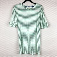 Matilda Jane Women Top Sz S Green White Striped Short Sleeve Ruffle Cotton