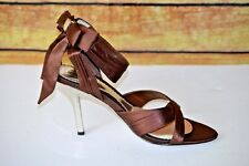 Bakers Duchess Chocolate  High Heels Ankle Strap W/Bow Size 8B