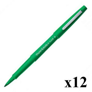 Paper Mate Flair Nylon Fine Line Marker 1.1mm Tip 0.8mm Line (Green) Pack of 12
