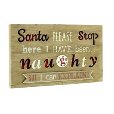 Wooden Santa Please Stop Here Novelty Sign with Light 28cm - Light up Wood
