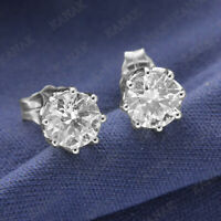 2.00 Ct Diamond Round Cut 14k White Gold Finish Solitaire Stud Earrings