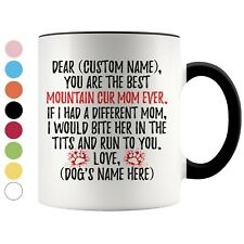 Personalized Mountain Cur Dog Mom Coffee Mug, Cur Dog Mommy Owner Women Gift