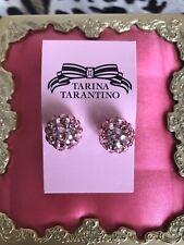 Tarina Tarantino Vintage Light Pink Lucite Swarovski Crystal Ball Earrings