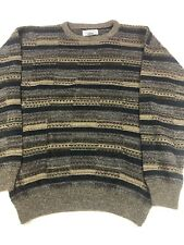 Vintage Gianfranco Ruffini Crewneck Sweater Mens sz Large Striped Brown Beige