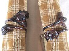 Primitive Country Acorn Metal Napkin Ring Set/2 Rustic Cabin Tabletop