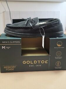 Gold Toe Men's Carter Moccasin Memory Foam Slippers Black - Sz 9 - New In Box