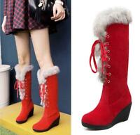 Women Lace Up Knee High Boots Wedge Heel Fluffy Fur Winter Suede Round Toe Shoes