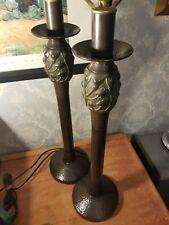 "《》 Dark Bronze Metal Table Lamp Set 《》 Heavy 《》 33"" Tall 《》"