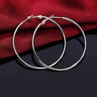 925 Sterling Silber Kreolen Creolen Ohrringe Ohrhänger Rund Hoops Schmuck Damen